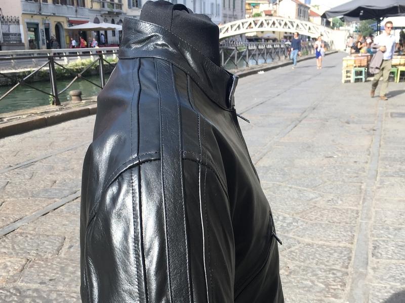 Giubbotto pelle moto nero Guendj Milano originale