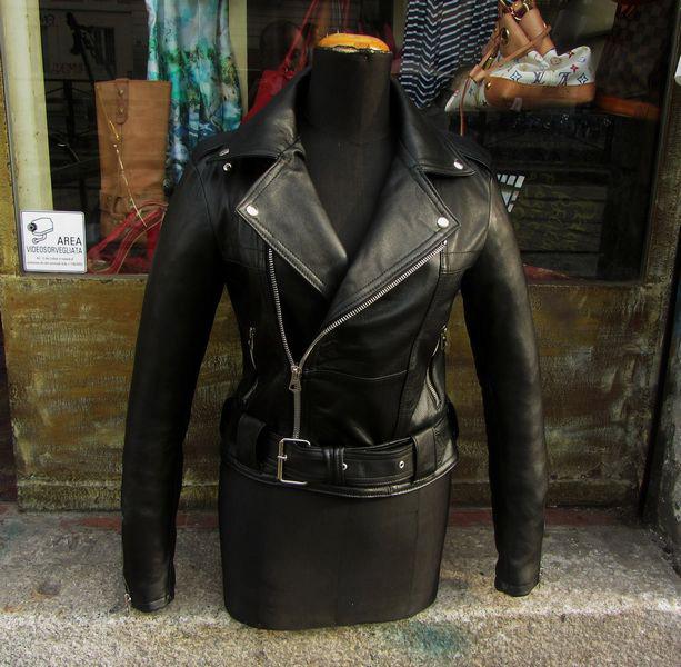 Giubbotto giacca chiodo in vera pelle donna nuovo