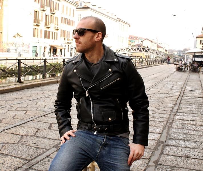 Giubbotto giacca chiodo pelle milano metal rock pu