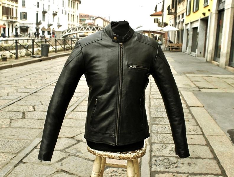 Giubbotto giacca pelle mobida stile moto anni 70 G