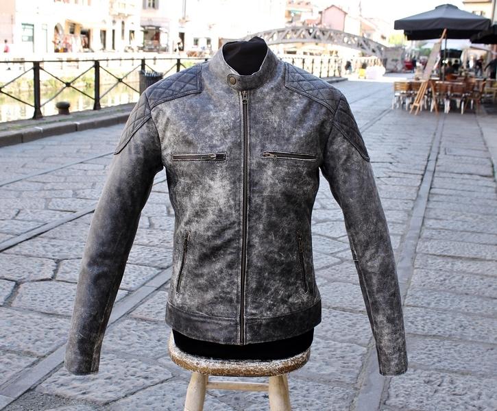 Motorcycle jacket aged grey belstaff style Guendj