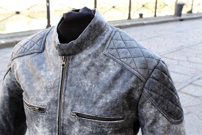 Giubbotto pelle grigio invecchiato modello Belstaf
