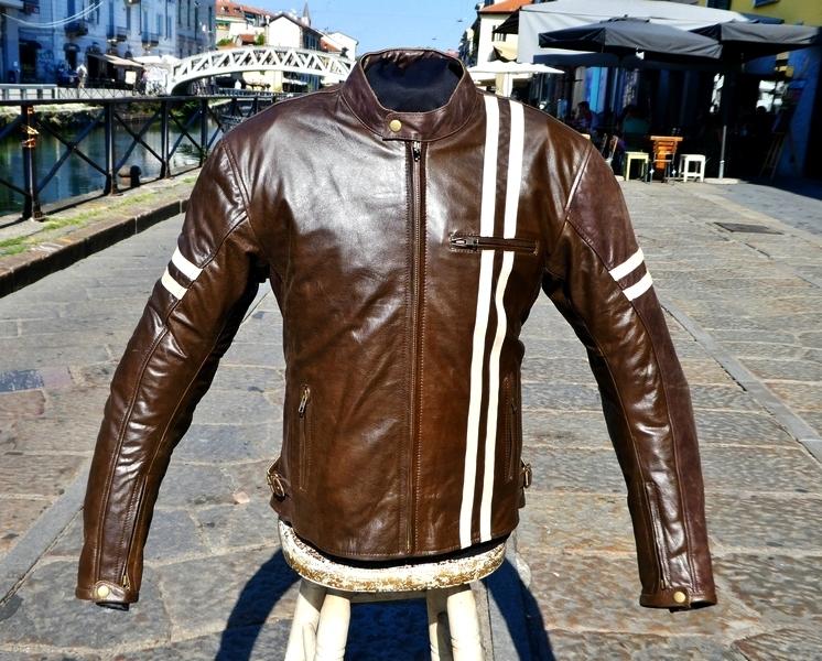 Giubbotto pelle moto marrone biker caferacer tagli