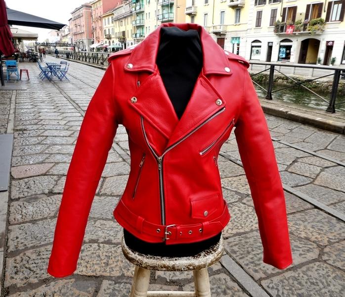 Giubbotto giacca chiodo pelle rosso metal rock Gue