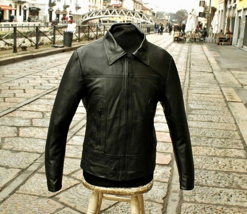 Giubbotto giacca pelle milano modello fonzie anni