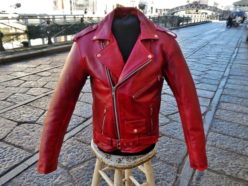 Red moto jacket perfecto guendj milano leather siz