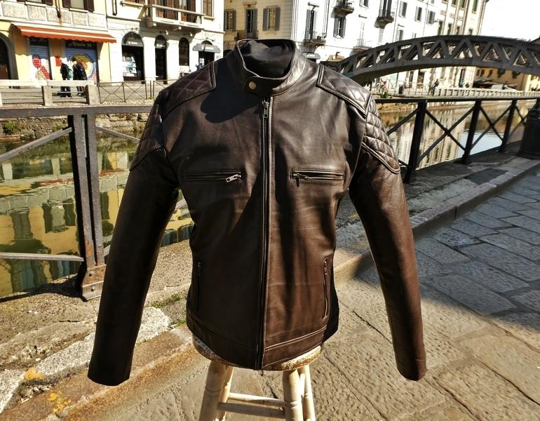 Giubbotto pelle marrone biker motociclista stile b